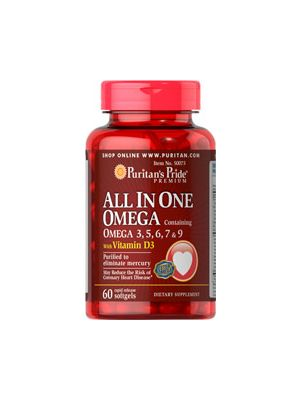 Puritan's Pride All In One Omega 3, 5, 6, 7 & 9 witih Vitamin D3 60 Softgels 50073