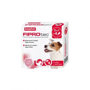 Beaphar Fiprotec voor honden 2-10 kg tegen teken en vlooien 4 x 0,67 ml pipetten