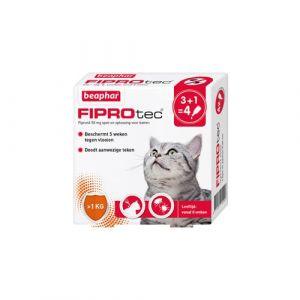 Beaphar Fiprotec voor katten >1 kg tegen teken en vlooien 4 x 0,50 ml pipetten